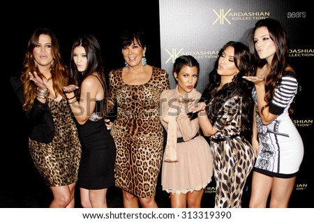 Khloe Kardashian, Kylie Jenner, Kris Jenner, Kourtney Kardashian, Kim Kardashian and Kendall Jenner at the Kardashian Kollection Launch Party held at the Colony in Hollywood, USA on August 17, 2011. - stock photo