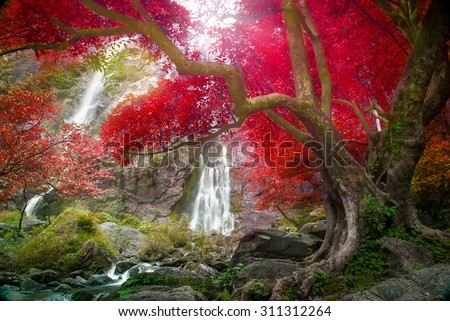 Khlong Lan Waterfall, beautiful waterfall in autumn forest, Kamphaeng Phet province, Thailand - stock photo