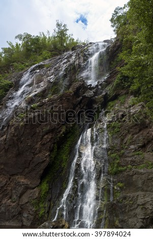 Khlong Lan Waterfall in Klong Lan National Park,Sky and Water