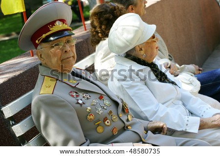 KHMELNITSKY, UKRAINE - May 1: Ukrainian veterans of the Great Patriotic War Victory Day is celebrated in May, 01 2009 in Khmelnitsky, Ukraine