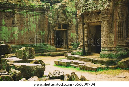 Khmer temple in the temple complex of Angkor Wat in Cambodia. Travel Cambodia concept.