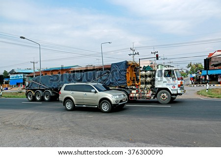 KHON-KHAN-THAILAND-APRIL 30 : The truck for transportation on the road on April 30, 2015 Khon-Khan Province. Thailand.
