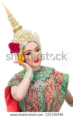 khon show woman in traditional costume of thailand - stock photo