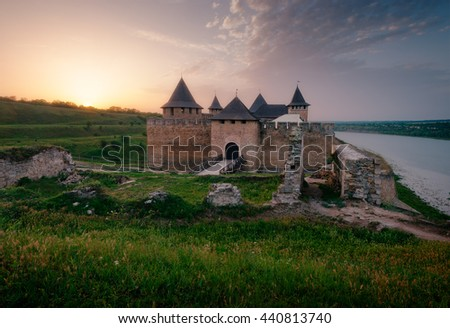 Khotyn Fortress at sunset