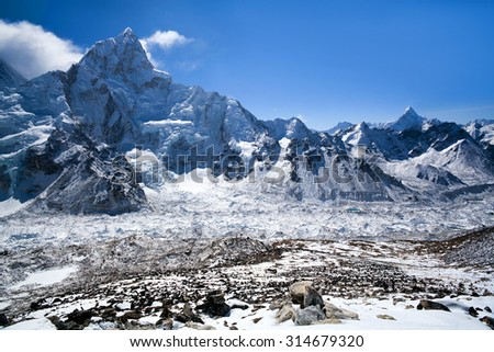 Khumbu glacier and Nuptse Mount view in Sagarmatha National Park, Nepal Himalaya.