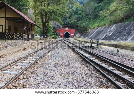 Khun Tan Tunnel is a tunnel, the train passes through the length of the country Lampang Thailand  - stock photo