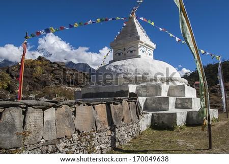 KHUNDE, NEPAL - CIRCA OCTOBER 2013: stupa in Khunde circa October 2013 in Khunde. - stock photo