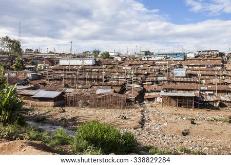 Kibera slum, the largest urban slum in Africa - stock photo