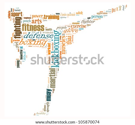Kick Boxing info-text graphics and arrangement concept (word cloud) - stock photo