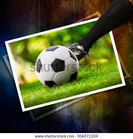 Kick soccer ball on the ground for sports internal photo paper
