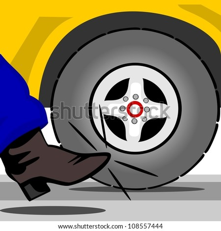 Kick the tire.  An image that explains the shopping experience of buying or testing a new or used vehicle. - stock photo