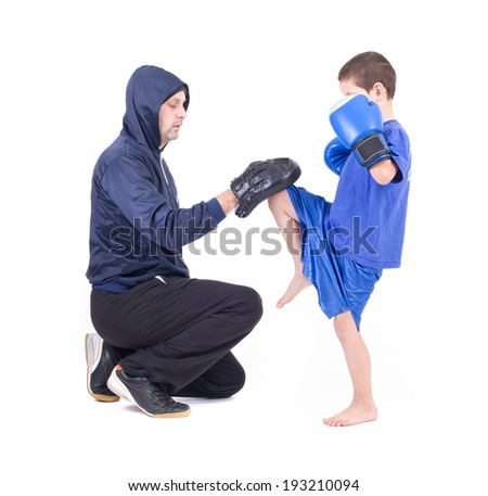 kickboxing kids with instructor. Isolated on a white background. Studio shot