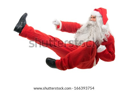Kickboxing Santa Claus - stock photo