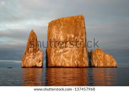 Kicker Rock at sunrise in the Galapagos near San Cristobal island - stock photo