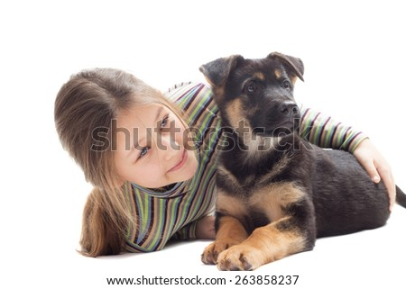 kid and puppy on a white background