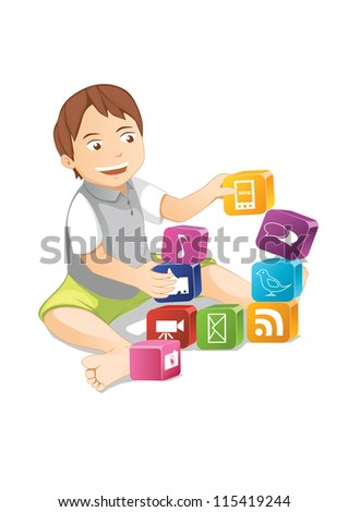 kid and social network - stock photo