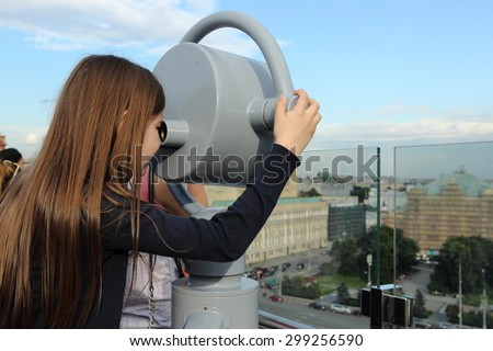 Kid and view on historical center of Moscow, Russia - stock photo