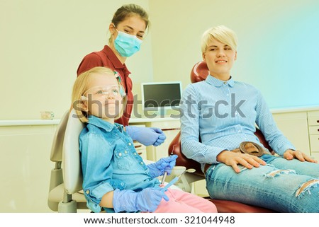 Kid at clinic, Little doctor, playing dentist