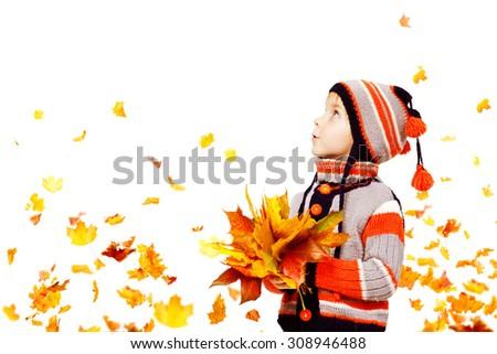 Kid Autumn Fashion, Child Knitted Hat Woolen Jacket Clothing, Boy with Fall Leaves Looking Up on White, five years old