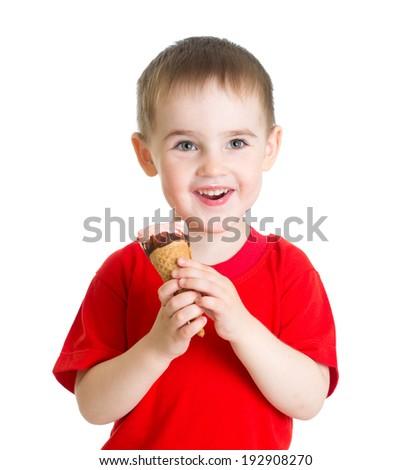 kid boy eating ice cream isolated - stock photo