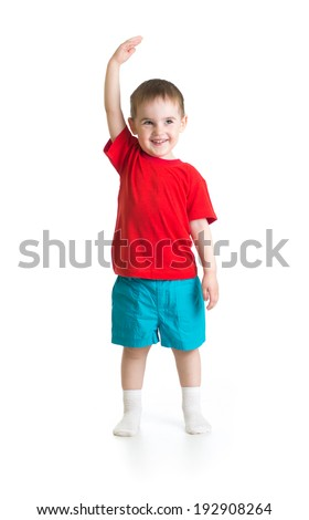 Kid boy growing. Isolated on white studio shot. - stock photo