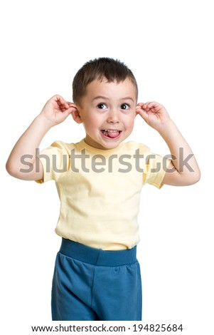 kid boy playing the ape - stock photo