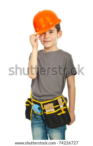 Kid boy wearing orange helmet isolated on white background
