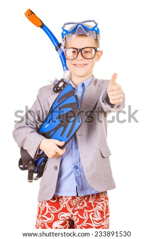 kid businessman wearing fins, snorkel and goggles hands folder with laptop, isolated on white