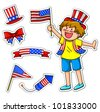 kid celebrating  fourth of july, plus matching icons for decoration (vector available in my portfolio) - stock vector