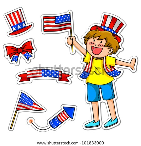 kid celebrating  fourth of july, plus matching icons for decoration (vector available in my portfolio) - stock photo