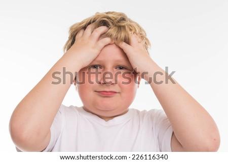 kid child studio boy portrait on white - stock photo
