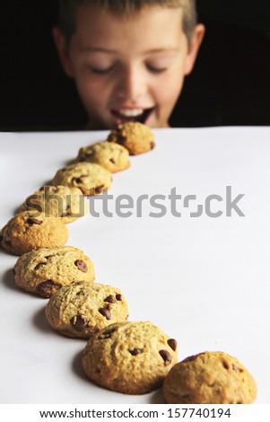 kid chocolate chip cookie trail - stock photo