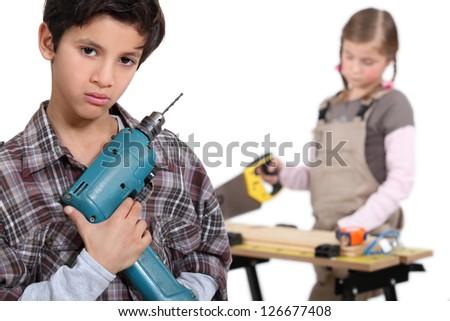 Kid, do it yourself - stock photo