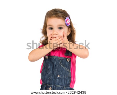 Kid doing surprise gesture over white background - stock photo