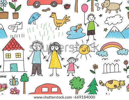 Kid Drawing Family Car Animal Seamless Stock Illustration 669184000