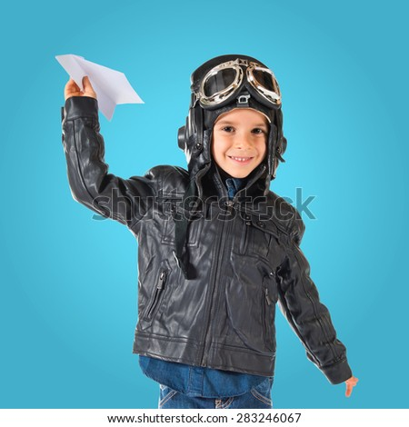 Kid dressed as aviator