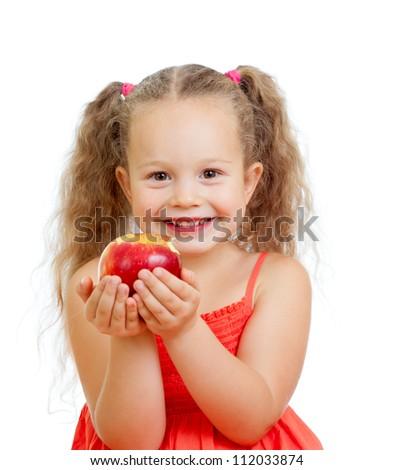 kid eating healthy food apples - stock photo