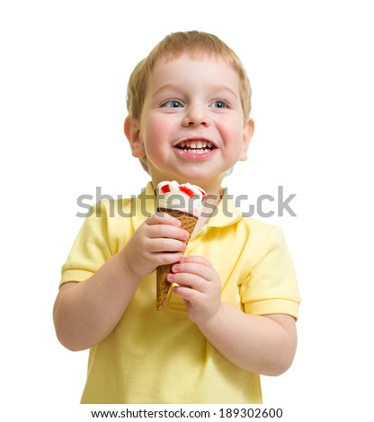 kid eating ice cream isolated on white studio shot - stock photo