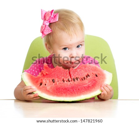 kid eating watermelon - stock photo