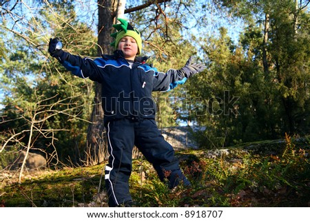 Kid exploring nature - stock photo