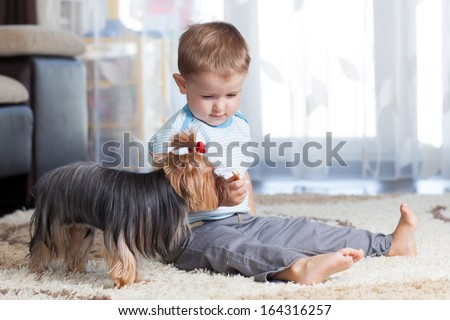 kid feeding pet dog