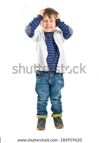 Kid frustrated over white background  - stock photo