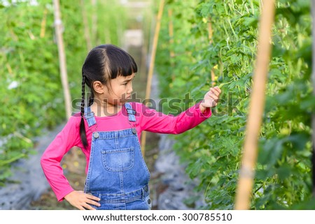 Kid gardener on serious pose while check product in her farm - stock photo