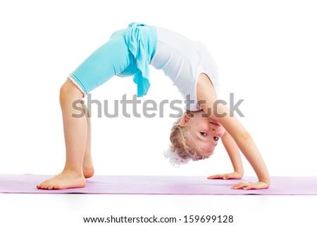 kid girl doing gymnastics - stock photo