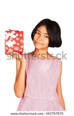kid girl hold red gift box isolate background