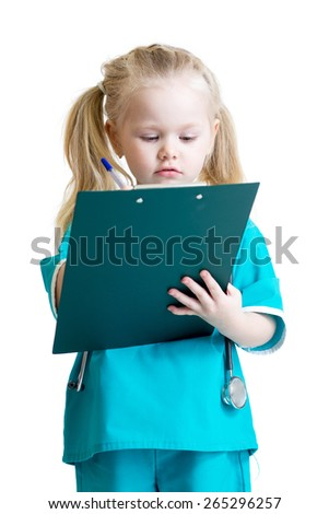 Kid girl in costume of doctor takes notes. Isolated on white