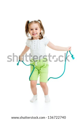 kid girl jumping with  rope isolated - stock photo