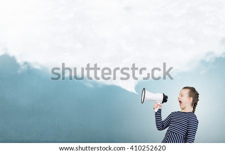 Kid girl making announcement - stock photo