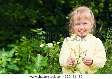 Kid girl outdoor portrait - stock photo