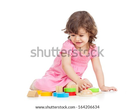 kid girl playing with block toys - stock photo